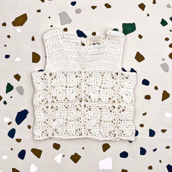 Crochet top LANA handmade in Austria of organic cotton yarn VAN BEREN