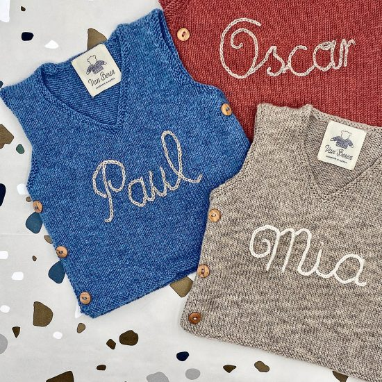 baby sweater personnalized MERLIN handknitted in Austria of merino cool wool VAN BEREN