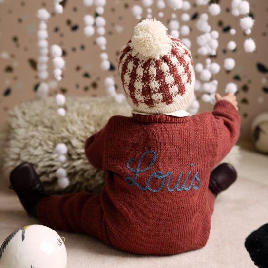 Baby romper suit OTTO handknitted of superfine and soft virgin merino cool wool in Austria VAN BEREN