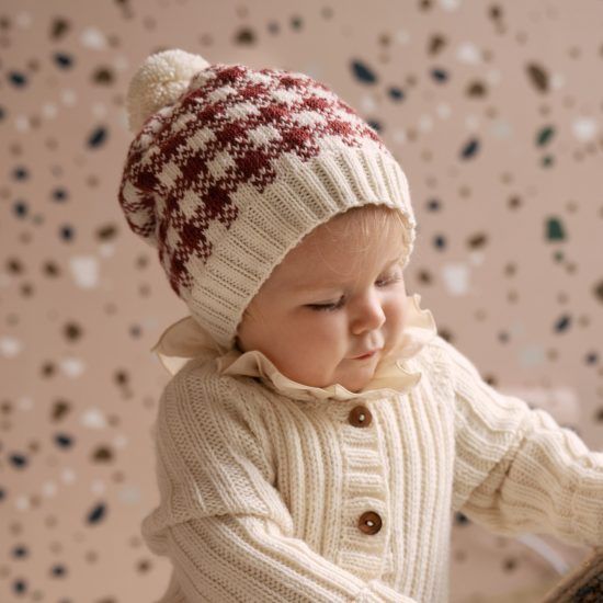 Knit Bonnet JENTIS handmade of virgin merino wool VAN BEREN