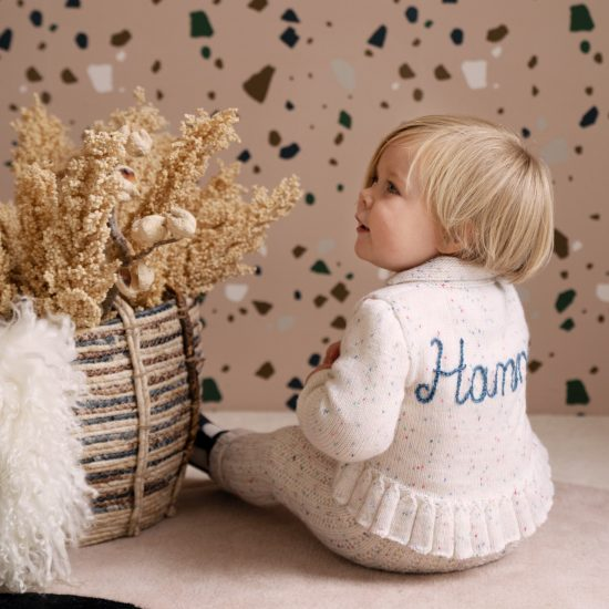 Knit cardigan QUINNY personalized with first name handmade of VAN BEREN