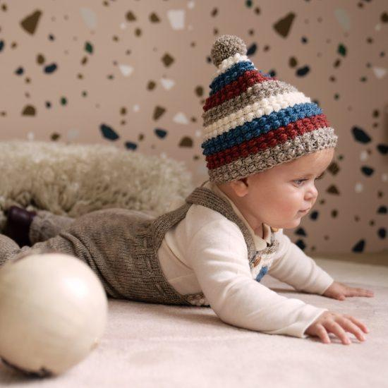 Crochet bonnet GIOTTO handmade of virgin merino wool VAN BEREN