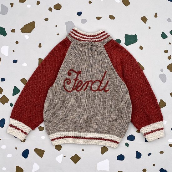Knit cardigan LEON personalized with first name handmade of VAN BEREN